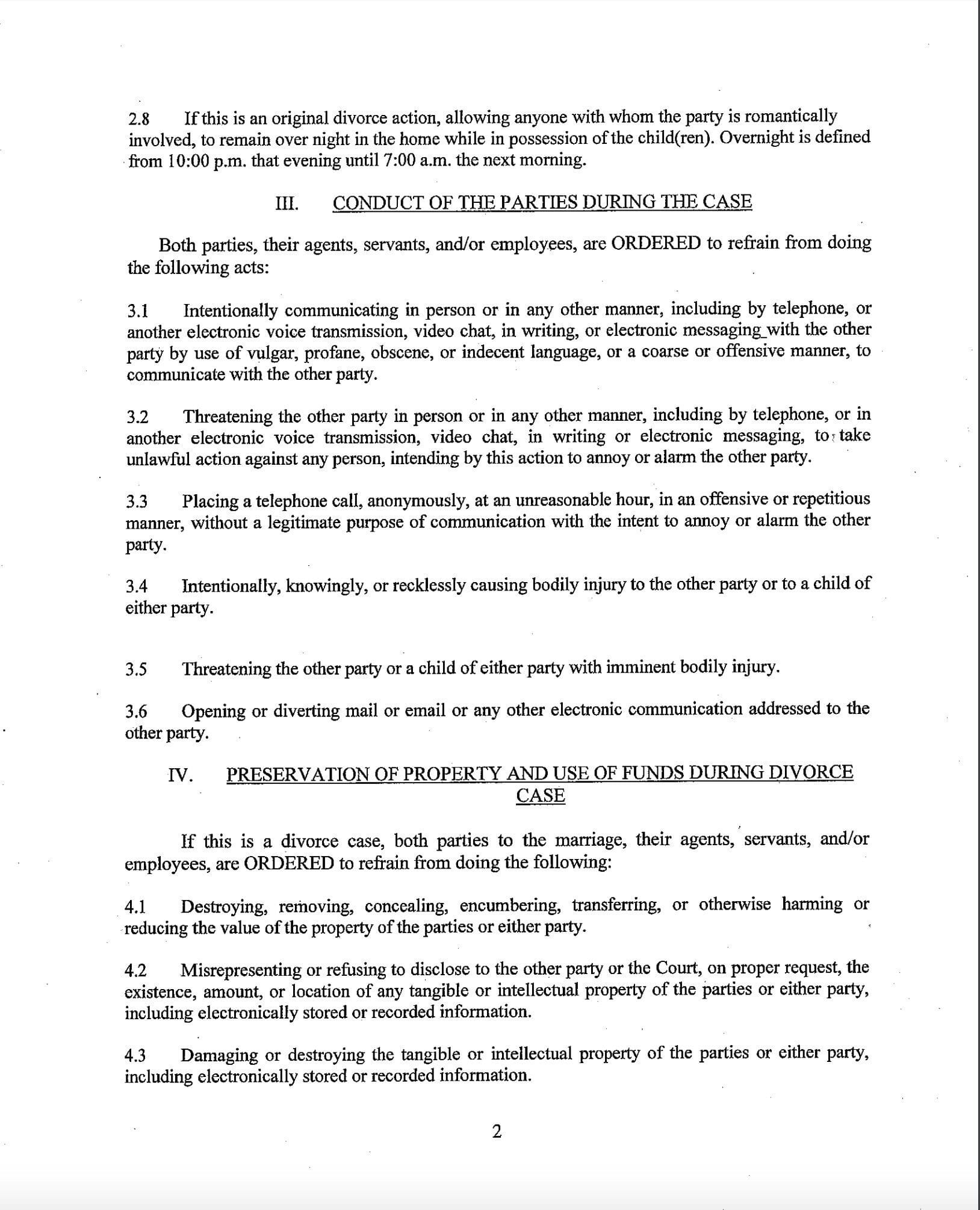 Bexar County rules during divorce page 2